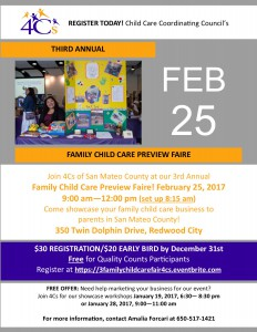 Third Annual Family Child Care Preview Faire @ Sobrato Center Redwood City   Redwood City   California   United States