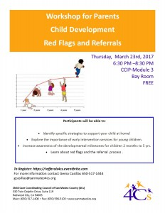Workshop for Parents Child Development  Red Flags and Referrals @ Sobrato Center for Non Profits  | Redwood City | California | United States