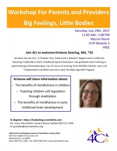 Big Feelings, Little Bodies Workshop For Parents and Providers @ Sobrato Center for Non Profits | Redwood City | California | United States