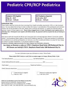 Pediatric CPR/RCP Pediatrica (English) @ Redwood City | California | United States