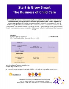 Start & Grow Smart  The Business of Child Care- Sessions I & II  Developing  a Strong Vision & Mission Statement  Crafting  Finance and Marketing  Targets & Strategies @ Sobrato Center for Non Profits | Redwood City | California | United States