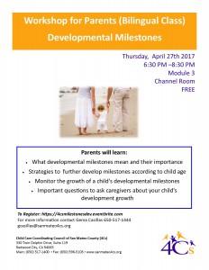 Developmental Milestones Workshop for Parents (Bilingual Class) @ Sobrato Center for Non Profits    Redwood City   California   United States