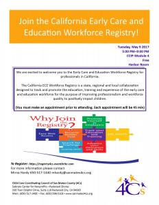 Join the California Early Care and Education Workforce Registry! @ Sobrato Center for Non Profits | Redwood City | California | United States