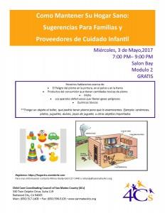 Como Mantener Su Hogar Sano:  Sugerencias Para Familias y  Proveedores de Cuidado Infantil @ Sobrato Center for Non Profits