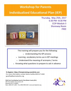 IEP Workshop for Parents Individualized Educational Plan @ Sobrato Center for Non Profits  | Redwood City | California | United States